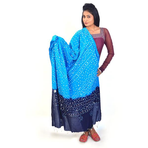 Blue Turquoise Tie n Dye Shell Work Cotton Dupatta 105