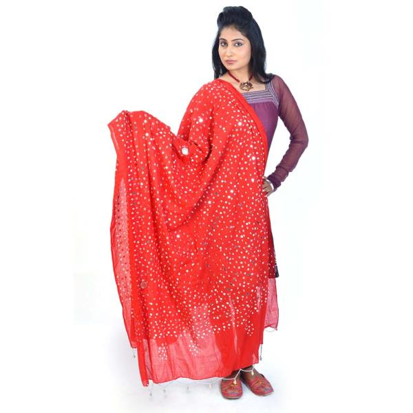 Traditional Mirror Work Gujarati Bandhej Dupatta 108