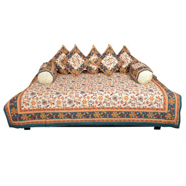 Jaipuri Fancy 8 Piece Block Print Dewan Bed Spread 353