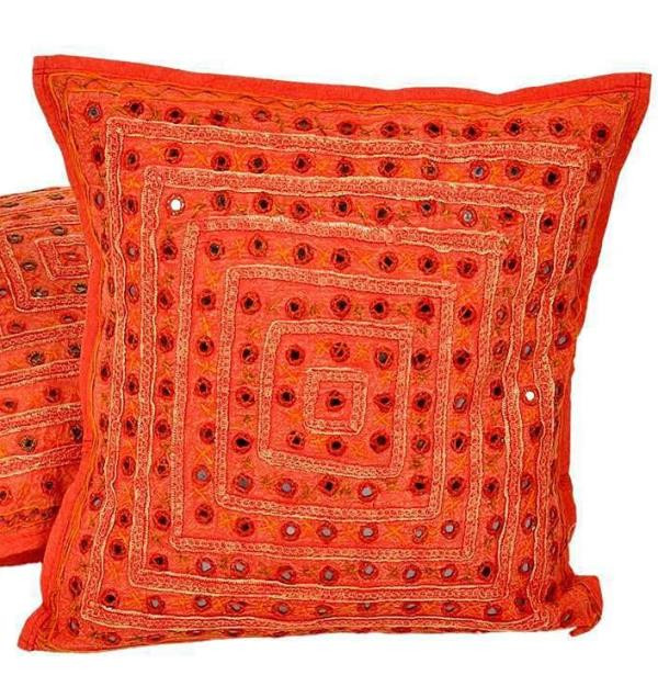 Rajasthani Mirrorwork Quilted Cushion Cover 506