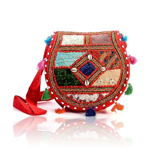 Ethnic Style Handmade Mirror Work Red Shoulder Bag 114