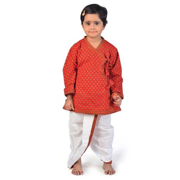 Ethnic Bagru Print Cotton Girls Dhoti Kurta Dress 205A
