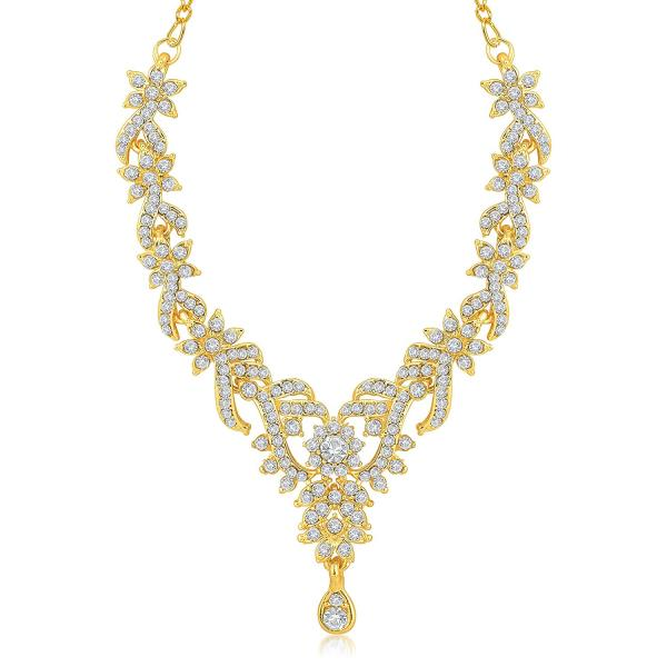 18KT YELLOW GOLD 4.78 CTW REAL NATURAL ROUND EXCELLENT CUT WHITE COLOR DIAMONDS BEAUTIFUL NECKLACE