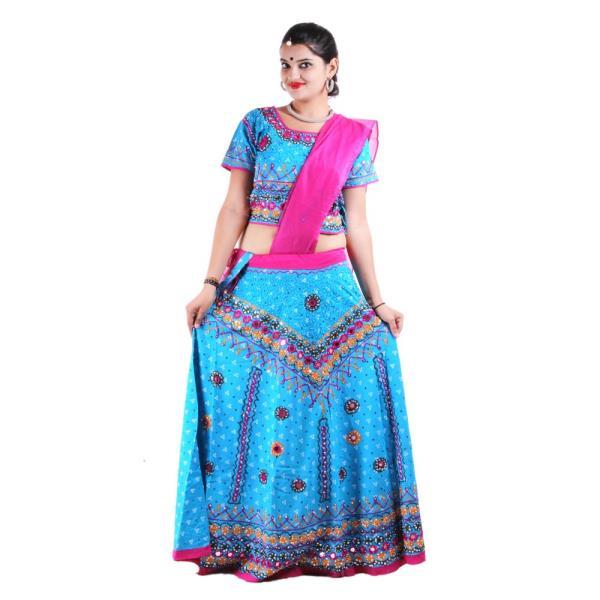 Indian ethnic Firozi Cotton Lehenga Choli Dress