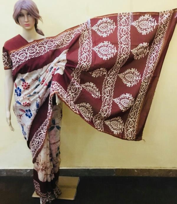 Traditional Hand Block Printed Saree With Boota&Border Pallu