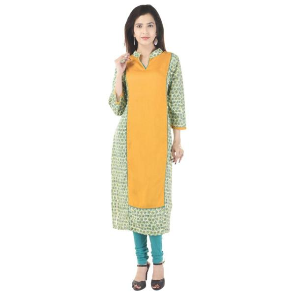 Solid With Printed Rayon Kurti