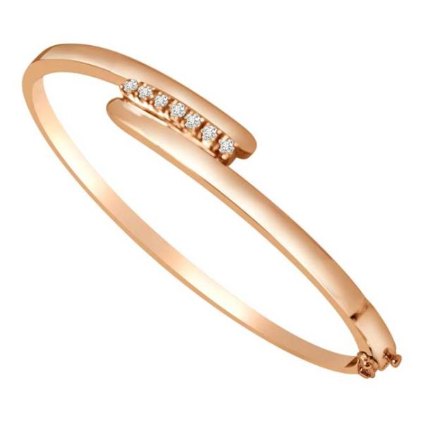 REAL NATURAL ROUND CUT BEAUTIFUL DIAMONDS 18KT ROSE GOLD ATTRACTIVE BANGLE TYPE BRACELET