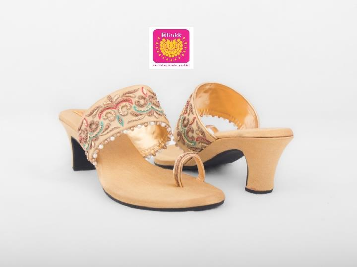 Golden Zardosi Box Heels