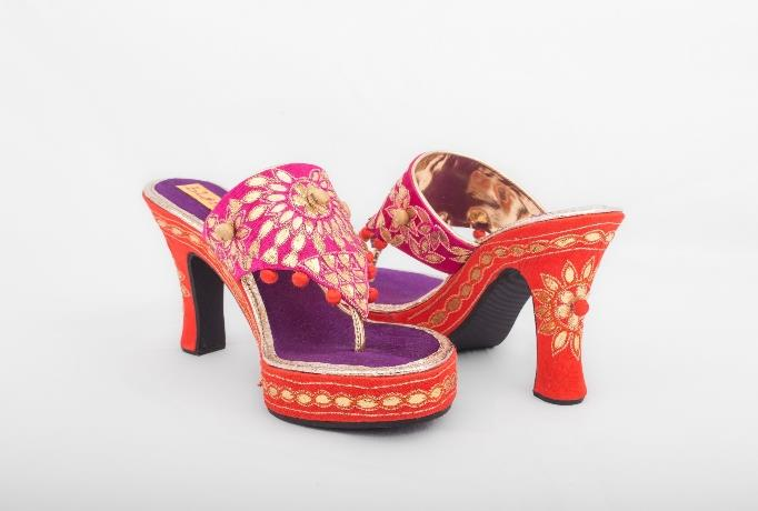 Pink Purple Orange Gotapatti Stilettos
