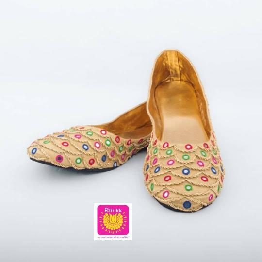 Golden Zardosi Mirror Belly Shoes