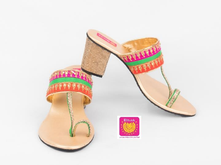 Pink Green Orange Block Heels Kohlapuri