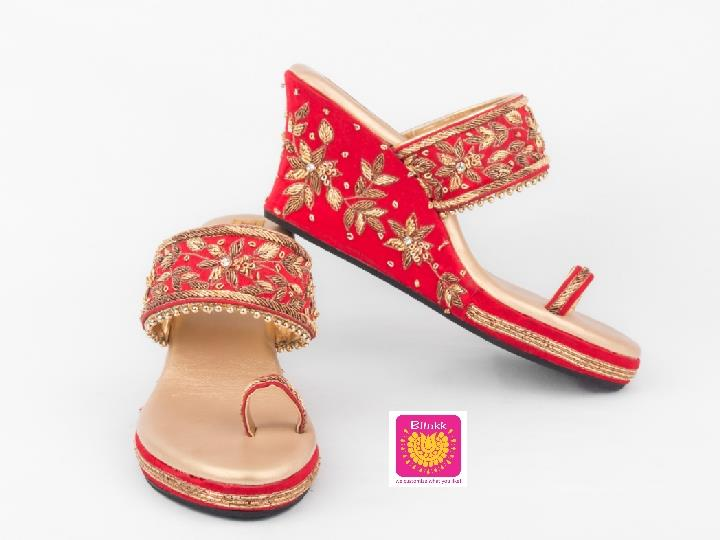 Red Bridal Floral Zardosi Platforms