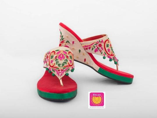 Pink Red Green Threadwork Bridal Platforms