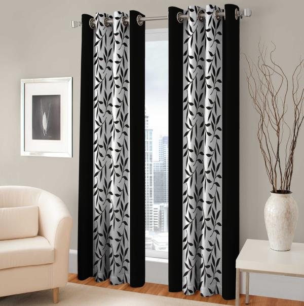 Optimistic Home Furnishing Polyester Door Curtain 210 cm (6.8ft) Pack of 2  (Floral Black)