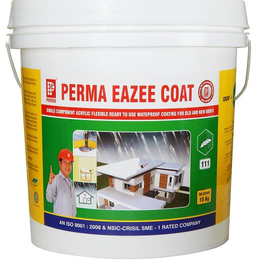 We manufacture Waterproofing Chemical for Terrace , Waterproof Plaster , Waterproofing Chemical for Building , Waterproofing Chemical for Water Tank ,Waterproofing Chemical for Roof , Waterproofing Chemical for Wall Plaster , Internal Wall Waterproofing Chemical , External Wall Waterproofing Chemical , Waterproofing Chemical for Swimming Pool. Perma Eazee Coat is a milky white liquid which can be brush applied to most structural surfaces to make them waterproof. The coating is UV stable and highly flexible.   PRIMARY USES 1.	Perma Eazee Coat is used for waterproofing all types of RCC surfaces such as roofs, chajjas, parapet walls and external walls. Asbestos cement sheets roofs can also be waterproofed using scrim cloth at the junctions, overlaps and J- bolts as reinforcement. 2.	As a damp proof course applied under the first layer of bricks or blocks in masonry works. ADVANTAGES 1.	Perma Eazee Coat can be applied directly from the can. 2.	Perma Eazee Coat cures & give a permanently flexible and resilient surface resistant to a wide range of temperatures. 3.	No cleaning solvents are required and can be washed off with water when it is still wet. 4.	Single component and easily brush applied. 5.	Can be used on wet surfaces and during rainy season. 6.	Mechanical damages to the membrane can easily be repaired by spot application. 7.	The membrane allows the concrete surface to breathe. 8.	Seamless application no joints are requried.