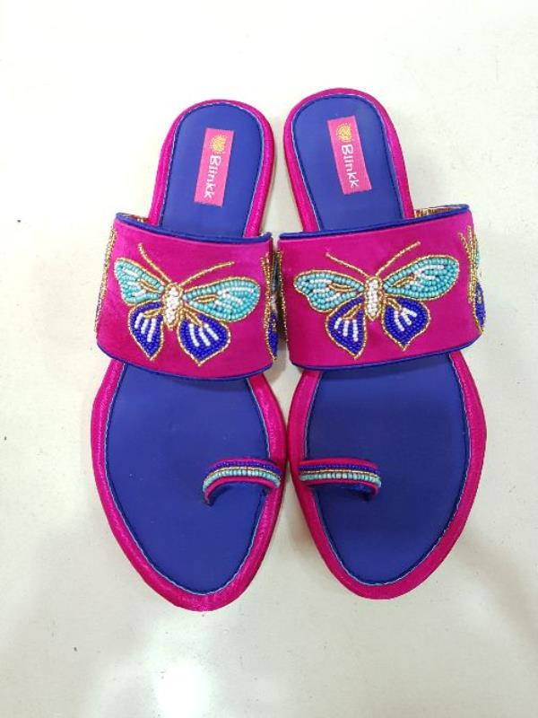 Royal Blue Pink Butterfly Flats