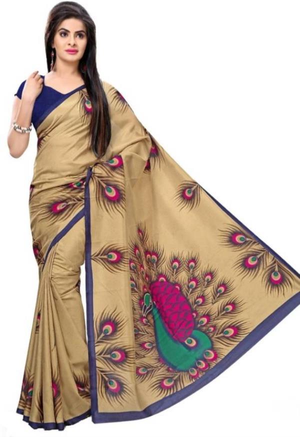 Sargam Fashion Self Design Bollywood Art Silk Saree  (Beige)