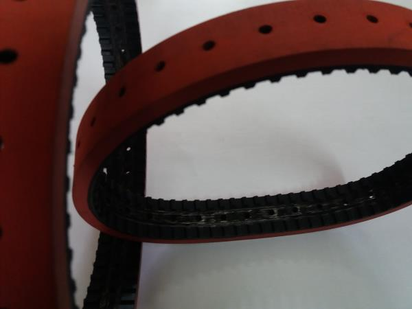 we will supply full range of feeder belts base flat belt / timing belt / poly v belt with red coating top smooth surface and with perforation as per customer drawing