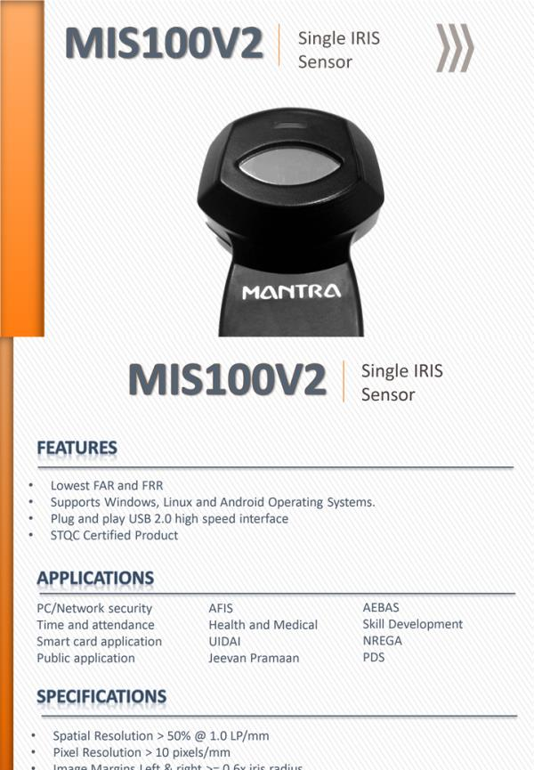 Mantra Iris Scanner- MIS100 Iris Sensor for Aadhar Authentication