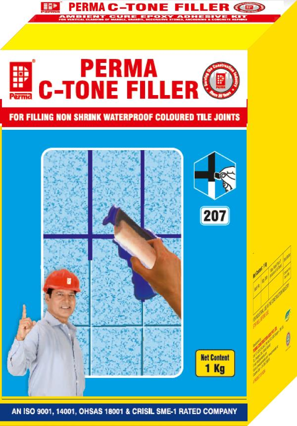 We are leading Manufacturer of Tile Joint Gout & Cementitious Tile Joint Mortar in India.  DIRECTIONS FOR USE Ensure that the tile joints are clean and dry. Blow out any dust or dirt from the tile joints. Mix Perma C-Tone Filler with clean water, in the proportion of 3.5 volumes of powder to 1 volume of water. Mix till a uniform consistency smooth paste of uniform color is obtained. Leave the paste for ten minutes in the pan for the entrapped air if any to escape and remix the paste. If the color of the paste does not match with indicated shade of the shade card remix it till the shade close to the shade card shade is obtained. Apply the paste liberally into the joints with a putty blade and even out the paste in the joint. After three to four hours, wipe out the excess Perma C-Tone Filler from the tiles with a wet sponge. Grout the tile joints with Perma C-Tone Fillerafter 24 hours of tile laying.  DESCRIPTION Perma C-Tone Filler (CTF) is a cementitious material in powder form. Perma C-Tone Filler only needs on site addition of water to make a mortar which is used for grouting tile joints. It is also used for grouting the joints between stones, marbles, cut stones etc. Conventional type of grouting with white or colored cements make the joint rigid and it collects dust, dirt & stains. The cements also have a high shrinkage property & it tends to CREATE leakage problems. Perma C-Tone Filler is modified to give high tensile strength, non shrink and waterproof properties. Further the product does not take stains and keeps the joints clean if cleaned properly with a detergent solution periodically.  PRIMARY USES Perma C-Tone Filler is used for grouting tile joints. It is also used for grouting the joints between marble, granite tiles and joints of cut stones and terracotta tiles. Perma C-Tone Filler is specially selected for grouting swimming pool tile joints because of its excellent waterproof properties.  PACKING Perma C-Tone Filler is available in 500 gms, 1 kg Corrugated printed cartons and in 10 Kg multi-wall laminated sacks.