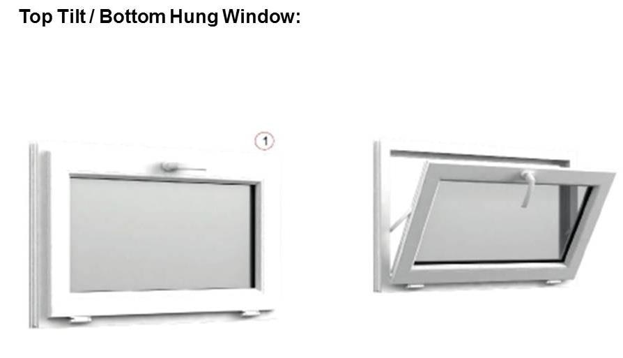 A bottom hung window tilts in and opens at the top. They have concealed hinges at the bottom. During rains, the tilt function prevents water entering while still allowing ventilation. A choice of latch handle or pull bar is available.Price per Sft is mentioned below: