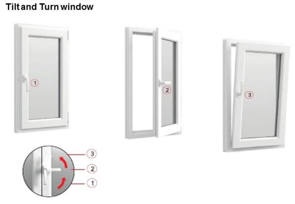 Tilt and Turn windows have a dual function - they can turn like a casement window or tilt like a bottom hung window. They can also open at the top with special hardware. The casement function allows for a 100% opening providing maximum ventilation. During rain, the tilt function prevents water coming in while still offering ventilation.Price per Sft is mentioned below: