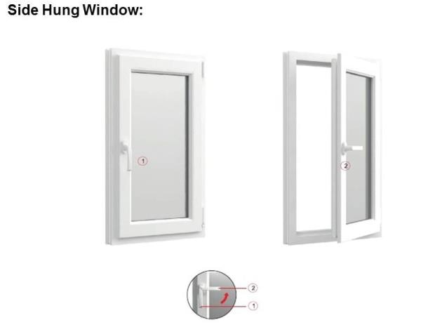 Side hung windows are a highly cost effective option and one of our most popular window types. They are hinged on the side and open towards the outside. Price per SFT is mentioned below: