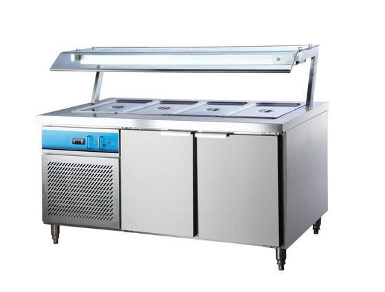 The bain marie refrigeration is designed to hold cold food at correct serving temperatures. It has stainless steel construction with removable cross bars. The unit is to take many combinations of gastronorm pans. It has a thermometer display and can hold maximum pan depth of 65mm.