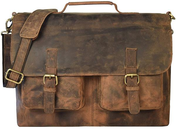 16 Inch Retro Buffalo Hunter Leather Laptop Messenger Bag Office Briefcase College Bag leather bag for men and women