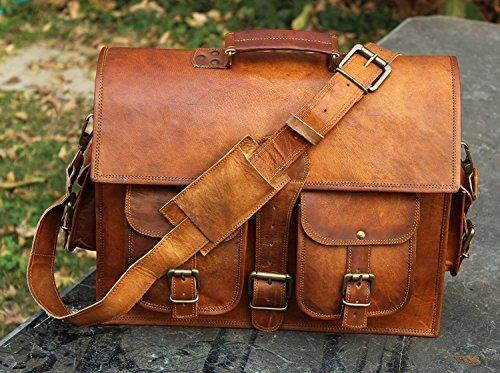 Men's Distressed Leather Messenger Laptop Case Shoulder Bag 12,16,5 Brown
