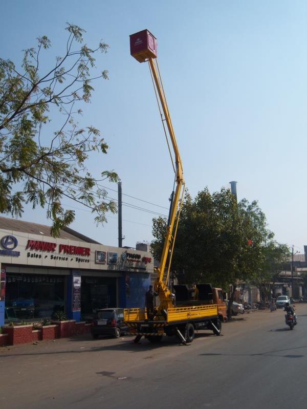 Aerial Work Platforms were developed for maintenance purpose. These platforms have both vertical height as well as horizontal outreach. Platforms are available from 9.5-meter working height to 42 meters working height. These platforms can be mounted on the 1-ton chassis to 25-ton chassis. All the platforms are made looking at the safety of the person. The platforms are designed as per EN280 standard. 3kV insulated bucket is provided for electrical maintenance purpose.Platforms are available in articulated, articulated cum telescopic and telescopic platform. In our equipment the bucket is close to the vehicle floor, hence the step in is easy and no sequence is required.Working Height:  15 metersWorking Outreach: 6 metersSlewing range: 360 degreesSafe Working Loads: 200 kg Cage Size: 1 X 1.06 X 0.77 meterStructure: Hexagonal Booms from High Tensile SteelStabilisers: 2 Nos. / 4Nos.  designed as per the vehicle.Bucket Levelling: Mechanical LevellingControls: Dual Controls. Bucket as well as the base.Emergency Pump: Emergency hand pump is provided in case of power failure.FEATURES:1) No Sequence required to operate the Boom.2) Low Bucket Height. Direct Entry into the bucket. No operation required to enter into the bucket.3) No Rotation unless and untill the platform is raised. To prevent boom from getting damaged4) Light Weight Design.
