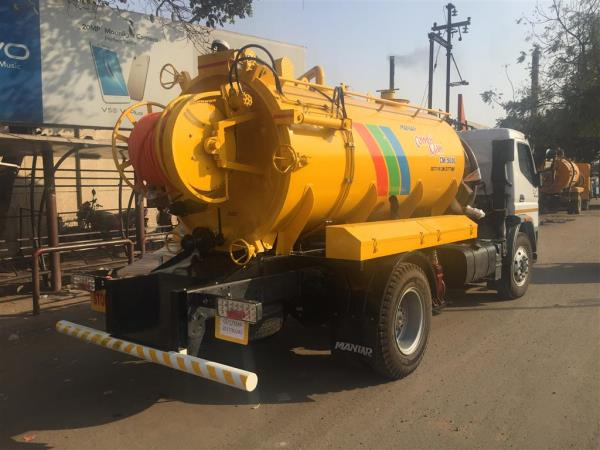 The truck-mounted combined suction-cum-jetting unit is capable of desilting and de-choking civil/industrial drains and sewer lines of diameters 200 mm to 900 mm and more. De-choking and de-silting of the sewer and drain water lines and chambers will be carried out by the High-Pressure Jetting System working on the principle of hydrodynamic cleaning by injecting high-pressure water into the lines through a suitable dimension sewer jetting hose and special cleaning nozzles. Aspiration of the effluent from sewer and drain water lines and chambers will be carried out on the principle of generating a high vacuum in the sludge compartment for syphoning out effluents, liquids slurry, sludge and other materials from depths of about approximately 6 to 7 meters, depending on the specific gravity of the effluent. The equipment will extract the sludge and slurry under high vacuum through a suction hose connected to the tank by a quick release hose coupling. The contents of the sludge tank will then be transported to any desired destination for disposal and emptied by means of gravity/pressure discharge. SPECIFICATION:Vehicle: TATA, Ashok Leyland, Eicher 7 Tonner 3800 wheelbaseGVW: 7 TonnerWheelbase: 3800 mmTotal Tank Capacity: 4000 LitreFresh Water Tank: 2000 LitreSludge Tank: 2000 LitreMaterial: 5mm Thick M.S material.Tank Tipping: HydraulicPTO: Heavy duty full torque PTO.Jetting Pump: Triplex plunger pump, Imported make.Capacity: Flow rate 137 LPM and pressure up  to 140 barJetting Hose: POLYHOSE  or equivalent, special high-pressure Sewer Jetting Hose.Hose I.D.: 19.7 mmLength: 60 metersHose Reel: The hose reel is designed to hold 120 meters long hose. The reel is driven by hydraulic power in both directions.Washing hose: Polyhose or equivalent make 12.7mm I.D X 10  meters long washing hose is provided.Handgun: Imported make spray gun, which can withstand the pressure up to 300 bar. It is very useful for cleaning equipment /container cleaning and also useful for cleaning of toilets/roads/street areas etc.Suction Filter: Y-type suction filter.Nozzle: •	Bullet nose with front and rear jets-1 no•	Bullet nose with rear jets -1 noAccessories and Safety Device: •	Heavy duty glycerin field 100mm dial pressure gauge•	Flexible water level indicator•	Audio / visual type water level alarm•	Spring loaded adjustable pressure relief valve Suction UnitVacuum Pump: Imported make rotary vane pump Capacity: 492 cum/hrSuction Hose: Heavy duty PVC suction hose.Size: 100 mm diameter X 15 metersDischarge Valve: 100 mm Ball Valve.Rear Door: Spunned dish end with a knuckle radius hydraulically operated rear door for cleaning purpose having an airtight heavy-duty rubber gasket.Primary shut off Valve: It is provided inside the tank body to prevent the water entering into the vacuum pump due to overflowing of the tank.  Secondary Shutoff Valve: It is provided to the inlet of the suction pump to prevent water /slurry entering into the pump.Quick Coupling: Imported Make of sufficient diameter to connect the hose.Compound Gauge: 100 mm dial gauge, pressure range from0-4 kg/cm2, vacuum range from 0-760 mm of HG.Hydraulic System: Power required for the hydro motor for winding and unwinding of hose reel and tipping of tank is taken from vehicle's engine via a hydraulic pump.Paint: 2 Coats of Epoxy paint            2 Coats of PU paint
