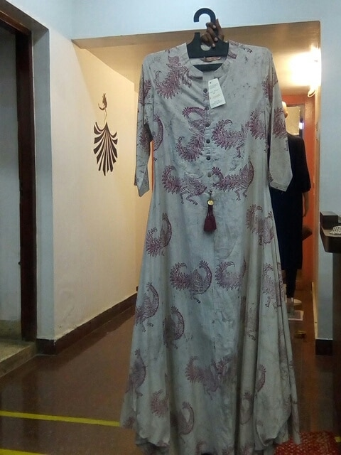 Hand Block Printed Long Kaul Dress