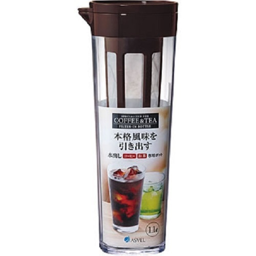 Model 8251, Brown Colour, BPA Free Leak Proof Stylish Transparent Infuser Bottle for Tea, Coffee, Herbs, Fruits etc. manufactured by Asvel of Japan.