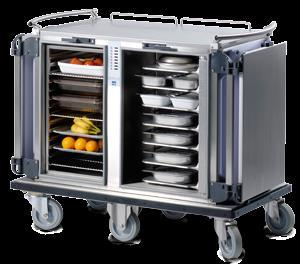 Our range of hot food trolley is specially designed to keep the food fresh and warm for a mobile food services. These trolleys can be used for serving foods in hospitals, nursing homes, old age homes, hotels, schools, catering & delivery services, banquet and even armed forces & aircrafts. The unique profile temperature technology ensures that the meals are kept at a safe, even temperature during transport, plating and service, without drying out or burning.