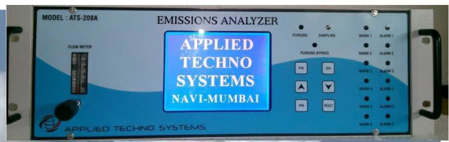 Online Stack Monitoring Systems Model ATS-208AApplied Techno Systems offer comprehensive range of stack gas Analyzer Portable and Continuous for the analysis of stack/flue gases in exhaust, boiler and combustion process. Model ATS- 206A Flue gas Analyzer measure the flue gases after placing its probe into stack or appliance exhaust and see the concentration of Oxygen (O2), Carbon Monoxide (CO) Carbon Dioxide (CO2). Efficient combustion also reduces emission of pollutants such as nitric oxide (NO), nitrogen dioxide (NO2), sulphur dioxide (SO2), and particulate matter. A gas analyzer will also help measure various gas pollutants in the exhaust for environmental reasons.· Microcontroller based embedded intelligent instruments· Continuous Monitoring of CO2 ,CH4, CO, O2, SO2, NOX (NO NO2), H2, H2S, N2· Duel wavelength Infra red sensor for Long terms accuracy and stability· Long Life Electrochemical sensor· Six Gas Analysis in Single Analyser· Multi Parameter Single 320 X 240 Graphics LCD Display· Self diagnostic & Self integrity check· RS 232/RS 485 and USB Computer Interface· Excellent low level capability for NOX and SO2 Measurement· For most of the application sample gas is cooled and dried inside the sampling conditioning systems to avoid the Heated Sample Line.· Analog 4-20mA output for each gasModel ATS- 208A Emission Analyzer continuously monitors the concentration of gases ranging from 100%V/V down to PPM level. Feature includes a duel wavelength sensor, Remote Sampling, Graphics LCD Display, adjustable level relay output for alarm and 4-20mA output for control purpose and minimal maintenance.Special gas sample Conditioning systems are used to clean and dry the gas sample for accurate and High performance operation. An Internal Pump draw gas sample into the sensor through a dust particle filter from an intake which can be located at distance up to 40 meter form the monitor.The Sensor and Electronic component are housed in tough aluminium housingSpecifications:Principle: Electrochemical, TCD (Thermal Conductivity) , NDIR (Non Dispersive Infrared ), Zirconium and ParamagneticRange: %V/V, % LEL, PPM, Mg/M3Resolution: 0.1 Unit or 1 Unit (Application based)Sampling Method: Auto SuctionDisplay: 320 X 264 Graphic LCD
