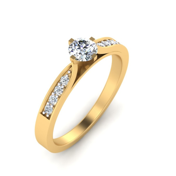 REAL NATURAL ROUND CUT NOT TREATED DIAMOND 18KT YELLOW GOLD BEAUTIFUL SOLITAIRE RING