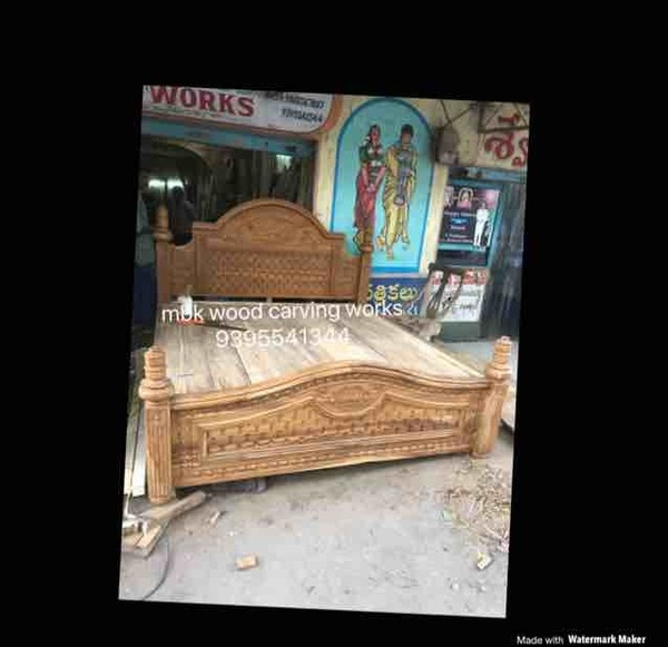 Wooden carving storage bed
