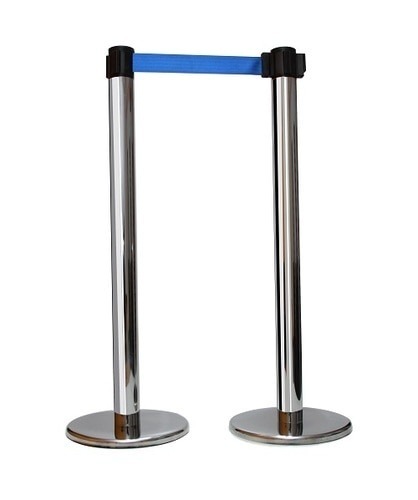 Freestanding stanchion Signage stands can be fitted to all tape heads Single and double-side printing to customers requirementsOTHER DETAILS :Height : 950 mm TallBase : 300mm Dia Base with Rubberized coverTape : 48mm width Polyester tape upto extension of 2.75 meterMaterial : Stainless SteelGrade Of Steel : 1)304  2)202Screen Printing : Print name and logo of your firm on the tape.