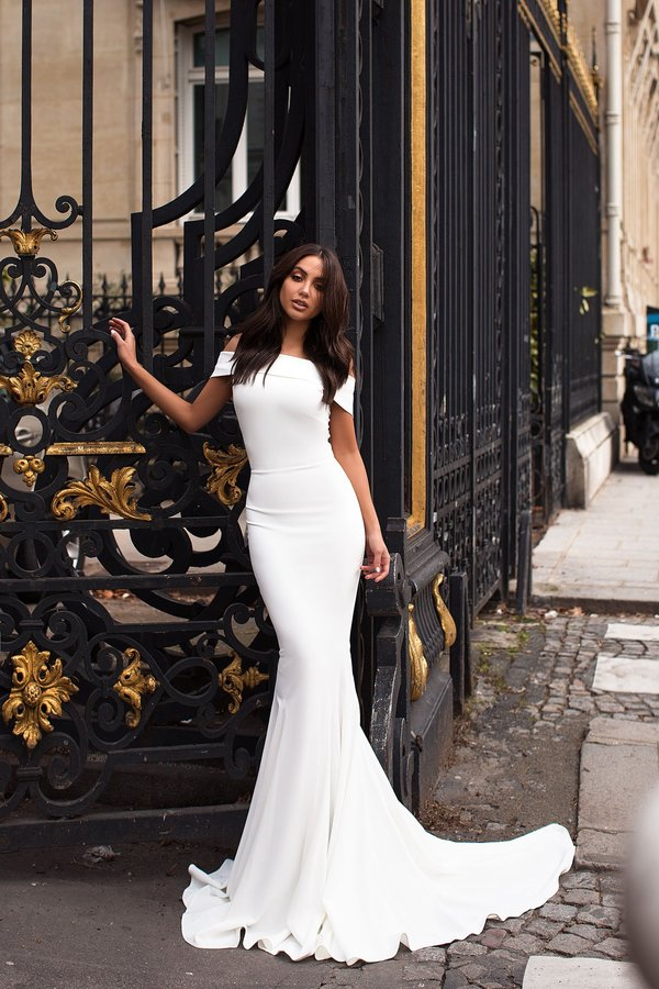 Luxurious Crepe Evening White Dress hugging body - Custom Made