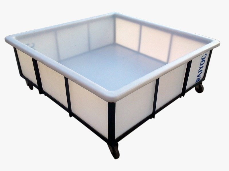Plastic Square Tray Container :- (with MS Trolley or without MS Trolley)