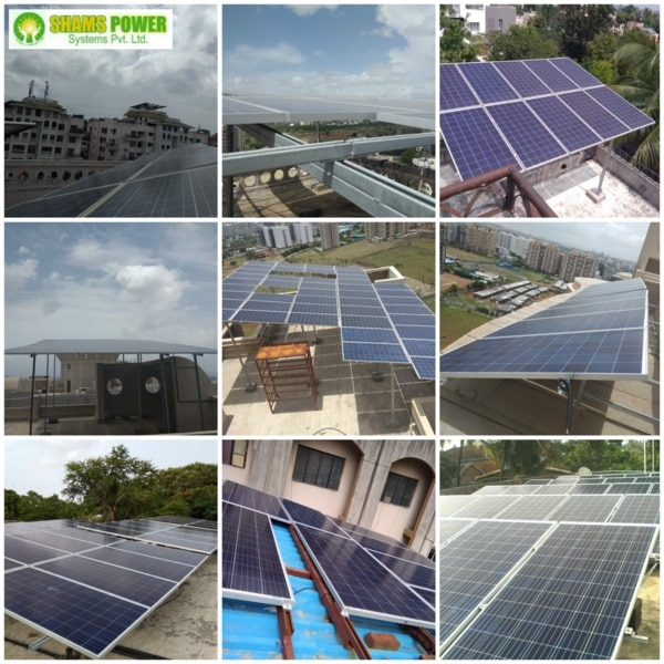 150 KWp ROOFTOP SOLAR PLANT  SCOPE OF SUPPLY:  * Solar Panels 150 KWp * Solar Inverter 50 KW, Qty - 3 Nos. * Balance of System  Price: Rs 60,00,000.00 + GST 5% 3,00,000.00 Total Price:  Rs. 63,00,000.00   Optional elevated HDGI module mounting structure of 8-10 feet height Extra Rs 750,000/- + GST 18% Rs 135000.00 = 885000.00  SHAMS POWER SYSTEMS PVT LTD SCOPE OF WORK   Complete design, supply, installation,  testing and commissioning  of Solar System including net metering and subsidy application procedure  WARRANTY:  One Year complete System warranty  Inverter: 5 years  from the date of invoice  PV Panels: 10 years manufacturer's product  warranty against manufacturing defect and 25 years performance warranty for min 90% out at the end of 10 years and 80% output  the end of 25 years.   SUBSIDY:  Available at Rs 13350/ KWp for residential and non-profit organization only.      POWER GENERATION ESTIMATES  Yearly Power Generation (Units): 2,00,000 - 2,25,000  Monthly Power Generation(Units): 18000 - 22000  Daily Power Generation (Units):600 - 750  INVESTMENT & EXPENSES      Approx System Cost (Rs): 63,00,000/-  Yearly Maintenance Cost (Rs): Nil  Subsidy (Rs): 20,02,500/-  Net Cost after Subsidy (Rs):42,97,500/-  SAVINGS ESTIMATES     Monthly Saving in Light Bills (Rs): 2,50,000 - 3,00,000  Yearly Saving in Light Bills (Rs): 28,00,000 - 32,00,000  ROI (Return on Investment):30% to 40%  Payback Period: 18 -20 months  OTHER INFO:     Area Required on Terrace: 12000-15000 sq ft  Maintenance Required: RegularPanel cleaning  Project Implementation Period: 12-16 weeks  Net Metering Procedure Period: 3-4 months  Backup During Power Shutdown: No / Optional   CONTACT: Mr Khuzema Limkhedawala  SHAMS POWER SYSTEMS PVT LTD  Office: No.3, Shantikunj society, Wanowrie, Near Kedari Garden Marriage Hall, Pune 411040  Email: info@shamspower.in
