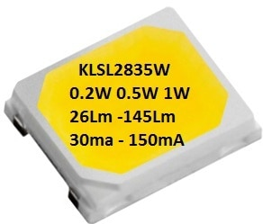 LEDChip Manaufuring 18 Volts, 0.5 Watts 75Lumens @ 30mA; Cool White 6500K CCT (Color Corelation Temperature); The KLSL2835W from LEDchip Indus in Power SMD LED category, are ideal for EVERY APPLICATION be it Tube Lights, Downlight, Lanterns & even Street Lights!; These 2835 SMD LED's have emerged as strong contenders for down-lights, bulbs as they bring down the costs of power LEDs by whopping 40%. With LPW (Lumens per Watt) of 75 and enhanced reliability, they help in bringing out mass use LED LIGHTS WITHIN RANGE OF TRADITIONAL LIGHT SOURCES. Lanterns & LED LIGHTS WITHIN RANGE OF TRADITIONAL LIGHT SOURCES.                                                                    visit website www.ledchipindus.com