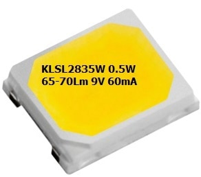 LEDChip Manaufuring 9 Volts, 0.5 Watts 65-70Lumens @ 60mA; Cool White 6500K CCT (Color Corelation Temperature); The KLSL2835W from LEDchip Indus in Power SMD LED category, are ideal for EVERY APPLICATION be it Tube Lights, Downlight, Lanterns & even Street Lights!; These 2835 SMD LED's have emerged as strong contenders for down-lights, bulbs as they bring down the costs of power LEDs by whopping 40%. With LPW (Lumens per Watt) of 75 and enhanced reliability, they help in bringing out mass use LED LIGHTS WITHIN RANGE OF TRADITIONAL LIGHT SOURCES. Lanterns & LED LIGHTS WITHIN RANGE OF TRADITIONAL LIGHT SOURCES.                                                                    visit website www.ledchipindus.com