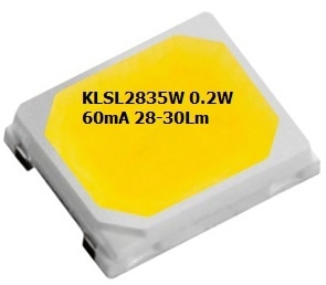 LEDChip Indus Produce 3.2 Volts, 0.2Watts 28-30Lumens @60mA; Cool White 6500K CCT (Color Corelation Temperature); The KLSL2835W from LEDchip Indus in Power SMD LED category, are ideal for EVERY APPLICATION be it Tube Lights, Downlight, Lanterns& even Street Lights!; These 2835 SMD LED's have emerged as strong contenders for down-lights, bulbs as they bring down the costs of power LEDs by whopping 40%. With LPW (Lumens per Watt) of 28 and enhanced reliability, they help in bringing out mass use LED LIGHTS WITHIN RANGE OF TRADITIONAL LIGHT SOURCES. Lanterns& LED LIGHTS WITHIN RANGE OF TRADITIONAL LIGHT SOURCES.visit website: www.ledchipindus.com