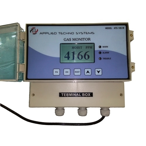 ATS-303D Process Moisture Analyzer Designed to Handle Rigorous Demands of Moisture Measurement in Natural Gas Applications, Provides Fully Automatic Self-Calibration Dew Point System, Provides Cost Effective Solution for Demanding and Critical Moisture Monitoring Applications.The advantages of a linear high capacitance response are: better sensitivity, better repeatability and faster response times. Also, the measurement system is less prone to noise and drift, and signal conditioning is kept to a minimum.The dew point meter is operated through a menu driven user interface consisting of a custom LCD display with backlight, and four push buttons.This dew point system has proven to produce consistently accurate monitoring results for dew point in natural gas and other difficult hydrocarbon processing applications, where conventional analyzers have failed.Specification :Principle Thin Film Capacitive, Capacitive Aluminum Oxide Range Degree C, PPM % RHResolution0.1 Unit or 1 Unit (Application based)Sampling Method Direct Plug InDisplay128 X 64 Graphics LCDPower Source Built in Lithium Rechargeable battery Or 230V AC Accuracy+/2%Response Time Data Storage5000 or 10000Computer Interface RS 232, USB Analog Output4-20mASensor Life2-3 YearsTemperature15degree Celsius Humidity< 85%RH Atmosphere Pressure86- 106KpaHousingHigh Impact Plastic Dimension in mm200 (W) X 120 (H) X 185(D)Weight1.5 KG Warranty One Year