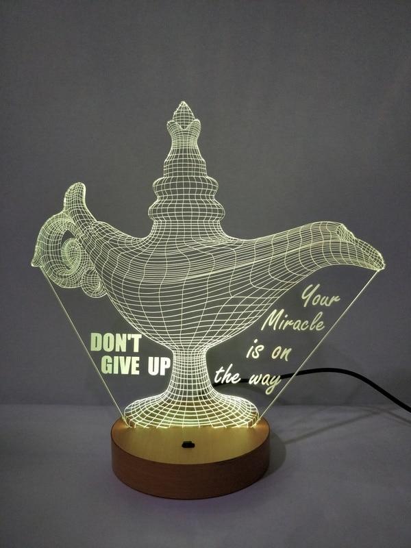 DESIGNELLE Customise Chirag Shape 3D Illusion LED Lamp Multicolour with Remote Control
