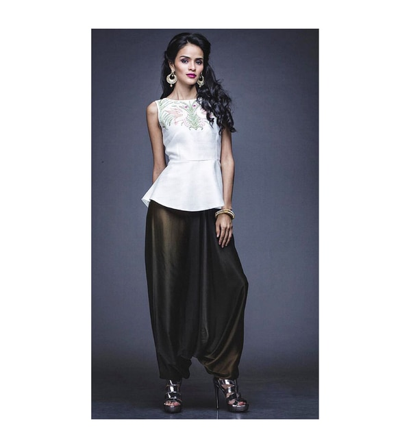 Exclusive Indian Designer Traditional Hand Embroidered Pepleum With Dhoti