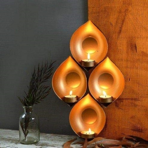 Collectible India Iron Eye Shaped Wall Sconce Hanging Tealight Candle Holder(13.5 x 9 Inches)