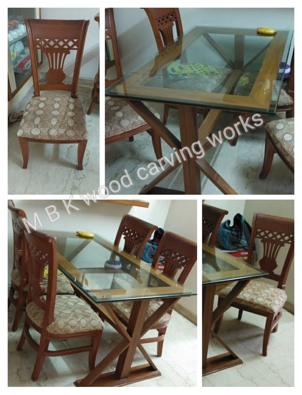 Wooden Teakwood dining table set nice simple design modle 4 chair best quality teak wood and fabric clothing with polishing finish natural colour good quality table size 4 feet by 2.5 feet normal height table